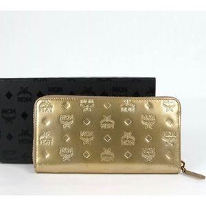 MCM Zip Around Large Gold Wallet Visetos